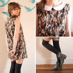 Ama Reid - Laura Jean Vintage Collared Mini Shift Dress   Wild Horses, Asos Knee High Socks, Melissa Rope Bow Ankle Gumboots - Wild horses couldn't drag me away