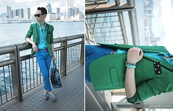 Edward Poon - Mykita Sunglasses, Kitterick Green Blazer, H&M Shirt, Paul Smith Bag, Loafers - Meteor