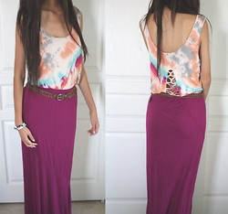 Amy P. - Tie Dye Tank, Forever 21 Brown Belt, Mossimo Maxi Skirt - Mama told me not to waste my life