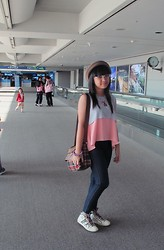 Evelyn Tirza - Retail Therapy Top, Gowigasa School Bag, Gosh White Sneakers, Grinitty Bowler Hat, Topshop Jeans - Fantastic Korea-Day 1