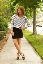 Katelyn Rose Caster - H&M Striped Pullover, Seychelles Heels, Nordstrom Knit Skirt, Nordstrom Cuff - Knits & Stripes