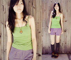 Ren Rong - Etsy Circus Necklace, Uniqlo Camisole, Forever 21 Shorts, Heart Printed Socks, Levi's® Lace Ups - Summer Camp