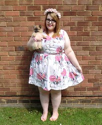 Charlotte D - Next Floral Dress, Asos Metallic Pink Belt, Primark Blush Bow Pumps, Crown & Glory Rosie Blush Headband, Giftshop In Wales Jewellery - Way Back Into Love