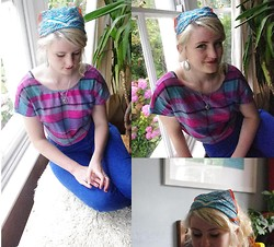 Martha Blue Mitchell-Gillespie - Vintage Head Scarf, Customised Shirt, High Waisted Blue Jeans, Vintage Earrings - Electric