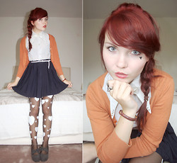 Paige Joanna Calvert - Vintage / Diy Silver Collared Blouse, Primark Orange Cardie, New Look Pleated Blue Skirt, Diy Inspired My Annika! Heart Tights, Oasap Bow Flatforms - Your heart rains down on me.