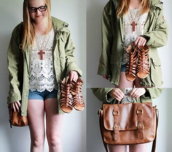 Emma Lindmark - Saints & Mortals Lace Top, Fjällräven Jacket, Serious Sally High Waisted Shorts, Glitter (Glitter.Se) Wooden Cross Necklace, Duffy Shoes, H&M Bag - I fell apart, but got back up again. †