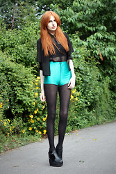 Olivia Emily - Two Layer Sheer Shirt, American Apparel Turqoise Disco Shorts, Ebay Heels - Lola.