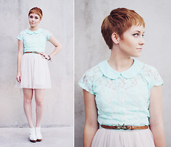 Alexandra J - Primark Mint Green Peter Pan Lace Top, Primark Lovebird Belt, American Eagle Ballerina Dress, D.I.Y. Friendship Bracelet, White Leather Cut Out Heels - Home