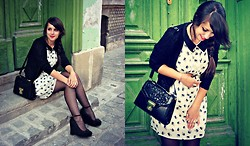 Nadina Zănoagă - New Look Lace Detail Purse, New Look Bow Wedges, Random Brand Swan Print Dress - Peter Pan & Swans