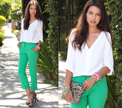 Annabelle Fleur - Pink & Pepper Pumps, Asos Pants, Style By Marina Clutch, Zara Top - Sparkle Like You Mean It