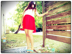Livvia A. - Red Dress, Charlotte Russe Bow Wedges, Bow Sunnies - Funsetter