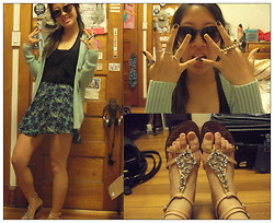 Karen Y - H&M Silver Rings, Forever 21 Triangular Black & Silver Ring, Forever 21 Black Stone Ring, H & M Sunnies, Forever 21 Sheer Black Tank Top, Forever 21 Abstract Print Skirt, J. Crew Mint Knit Sweater, Sam Edelman Sandals, Claire's Flat Ring - I will lose my mind