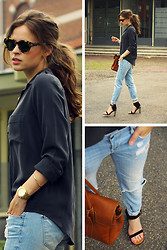 Christine R. - Filippa K Silk Shirt, Céline Sandals, Mulberry Bayswater Bag, Karen Walker Sunglasses - Easy