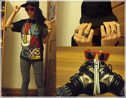 Karen Y - Buffalo Exchange Chained Rings, Forever 21 Armored Ring, Aldo 3 Finger Snake Ring, Target Black Socks, Presence Sunnies, Aldo Black & Gold Hi Tops, Uniqlo Aztec Leggings, Young & Reckless Oversize Tee, Forever 21 Gold Chain, Young & Reckless 'Reckless' Snapback - On and On...