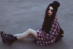 Violet Ell - Thrift Store Flannel Shirt, Thrift Store Leather Backpack, Dr. Martens Boots - 08.07.2012