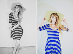 Mariah Nicole - Forever 21 Jersey Dress, Thrifted Sunhat, Coral Bead Necklace - Seaside