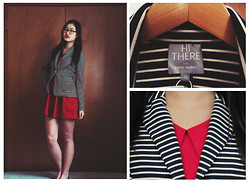 Michelle Louissant - Karen Walker Striped Blazer, Red Collared Dress - Hi there, Karen Walker