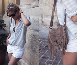 Sofie V. - Zara Shirt, Zara Short, Céline Celine Sunglasses - I see stripes and studs