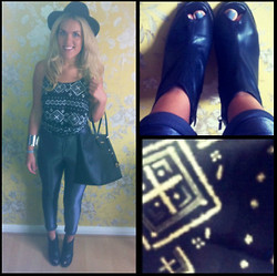 Sophie Henderson - Topshop Peep Toe Boots, American Apparel Disco Pants, Forever 21 Dipped Hem Dress (Tucked In), Topshop Cuff, Topshop Trilby, Michael Kors Tote - A rainy day shopping