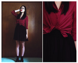 Michelle Louissant - H&M Maroon Shirt, Bardot Black Chiffon Bustier Dress, Dr. Martens Black Original 8 Hole Boots - Freaks & Geeks