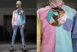 Andre Judd - Ann Ong Turquoise, Coral, Mother Of Pearl, Wood Inlay On Silver Neckpiece, Pastel Color Blocked Shirt, Poweder Blue Skinnies, Pastel Leather Golf Shoe Flatforms, Ann Ong Silver Cuff - PASTEL COLOR WHEEL