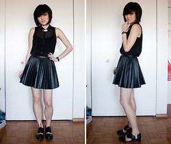 Ellsee C. - H&M Pleather Pleated Skirt, Minimarket Cutout Oxfords, Silver Collar - Forget the Darkness