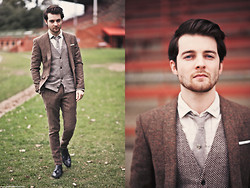 Ben Galbraith - Asos Tweed Suit, Ebay Cardigan - Tea