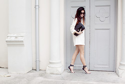 Melody Tan - Jeffrey Campbell 'Soiree' Heels, Chanel 2.55 Handbag, White Shift Dress - Mods.