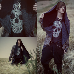 Alexander Borgetto - Family Solid Silver Necklace, Truly Madly Deeply Tanktop, Zara Dropcrotchpants, Tigha Sheepleather Shirt, Blacksmith London Grey Cardigan, Airstep Black Biker Boots Elias - †Sæglópur†
