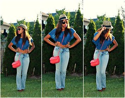 Melissa W - Aldo Hat, Aldo Sunglasses, Forever 21 Shirt, Kenneth Cole Bag, Guess? Jeans - Strolling Slouchy