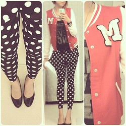 Monica Ai - H&M Letterman Jacket, Forever 21 Tank, Onespo Harlem Pants, Payless Black Heels - Modern Minnie Mouse