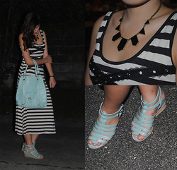 Jessie Kim - Moussy Striped Maxi Dress, A.Tyme Mint Wedges, A.Tyme Mint Bag, Jhajing Black Necklace - Striped maxi