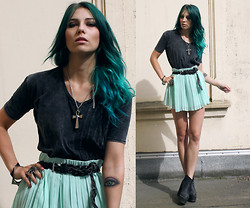 Masha Sedgwick - Shirt, Gina Tricot Skirt, Bracelets, Topshop Necklace, Ring - SHADOWS SETTLE ON THE PLACE, THAT YOU LEFT