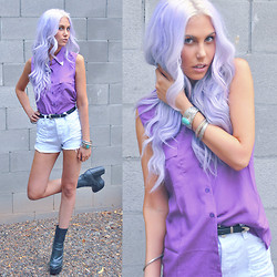 Rae Shoemaker - Bolo Tie Optional Sleeveless Purple Top, Minkpink Mink Pink Slasher Shorts, Jeffrey Campbell Detention Boots - When your traveling at the speed of light...