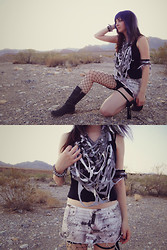Jenna G - Plastic Viscera Tattered Cowl, Plastic Viscera Destroyed Skirt, Dr. Martens Biker Boots, Destroyed Black Tank - This is bat country.