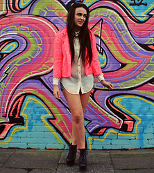 Rachael Dobbins ♡ - River Island Fluorescent Lace Blazer, Topshop Sheer Shirt, Accessorize Rope Necklace, Jeffrey Campbell Lita - Fluorescent Adolescent