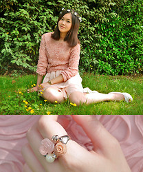 Anne - Flower Crown, Rose Top, Chiffon Skirt, Guess? Watch, Kang Long Wedges, Flower Ring - Day by Day
