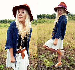 Hannah Riley - Calvin Klein Chambray Shirt, Urban Outfitters Denim Skirt, Urban Outfitters Tank, H&M Shoes, Bcbg Hat - Denim on Denim