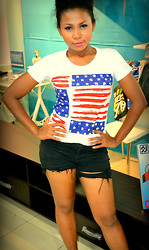 Riamond Whiteside - American Flag Inspired Shirt, Diy Shorts, Kenji Gomez Hair And Make Up - God bless America!!!(I WILL return:)
