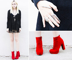Madeline Pendleton - Madlady Hand Cuff, Madlady Spike Ring, Sheinside Boots, Sheinside Sweater, Madlady Sequined Shorts, Vanessa Mooney Spike Necklace - Red.