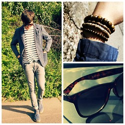 Melik D - H&M Striped Cotton Shirt, H&M Super Skinny Jeans, New Yorker Blue Blazer, H&M Sunglasses, H&M Bracelet - Lights