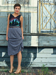 Emily Reifert - Feather Earrings, Wedges, Thrift Cut T Shirt, Thrift Floral Skirt - Burned out flames should never re-ignite.