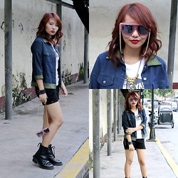 Janille Rose Olegario - Denim Jacket, Riot! Shades With Chain, Spoofs With Shirt, Dr. Martens Black Boots - Busy streets of Manila.