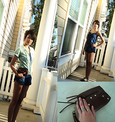 Michelle Pan - American Eagle Ruffled Polka Dot Blouse, Thrifted Denim Romper, Urban Outfitters Blk And White Perforated Oxfords, Thrifted Brown Leather Wristlet - Sweet Sumer Days