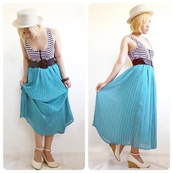 Juvy Yamilao - Unknown Maxi Skirt, Unknown Ankle Strap Wedges, Forever 21 Striped Leotard, Royal Party Boater Hat - 7142012