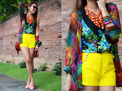 Laureen Uy - Mademoiselle Top, Cole Vintage Polo, Iaah Shorts, Chloé Bag, Sm Accessories Necklaces, Tribute Shoes Flats - Rainbow (BMS)