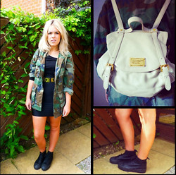 Sophie Henderson - Marc By Jacobs Rucksack, Topshop Leather Platforms, Unknown Vintage Camo Jacket, Moschino Waist Belt, American Apparel Black Dress - Channel Orange