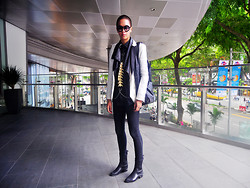 Bryan Goh - Zara Black Lapel Blazer., Os Accessories. Spinal Harness., Alexander Wang Anouck Booties., Alexander Wang Robyn Hobo Bag. - We burst into CO L O U R S and C A R O U S E L S