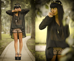 Alessandra Mazzini - Camote Soup Sheer Blouse, Forever 21 Zig Zag Shorts, Jeffrey Campbell Night Walk - Fallen paper birds