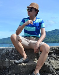 Jann Christian Bungcaras - Woman's Hat, Penshoppe Striped Shirt, Green Leather Belt, Memo Tapered Shorts, Kartel Snake Skinned Slip Ons - I am WORTHY of You....and you are WORTHY of Me